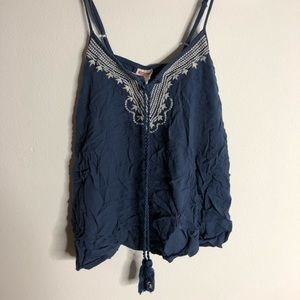Small embroidered tassel tank
